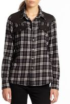 Current/Elliott The Western Faux Leather-Trimmed Plaid Flannel Shirt