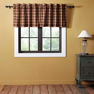 VHC Brands Red Primitive Kitchen Curtains VHC Heritage Farms Tier Pair Rod Pocket Cotton Plaid