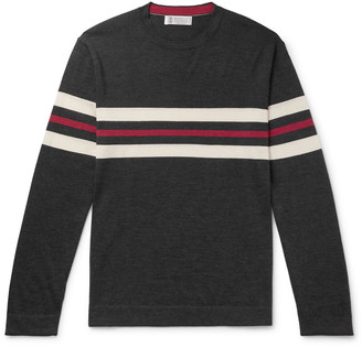 Brunello Cucinelli Striped Cashmere And Silk-Blend Sweater
