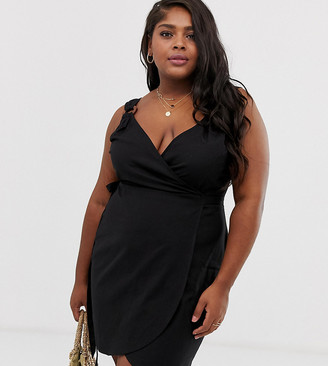Asos DESIGN Curve linen wrap mini sundress with wooden rings