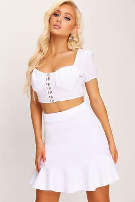 I SAW IT FIRST White Scuba Flippy Hem Mini Skirt