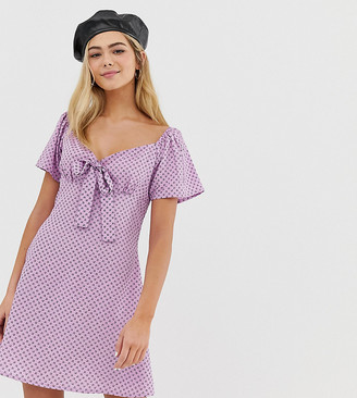 Wednesday's Girl square neck dress with tie front in ditsy print-Purple