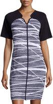 Misook Short-Sleeve Printed Dress, Navy/White