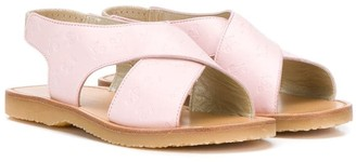 Bonpoint Embossed Leather Wrapped Sandals