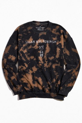Urban Outfitters Basquiat Sugar Ray Robinson Bleach Tie-Dye Crew Neck Sweatshirt