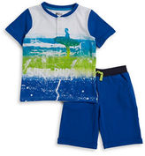 Nannette Boys 2-7 Two-Piece Surf-Print Tee and Shorts Set