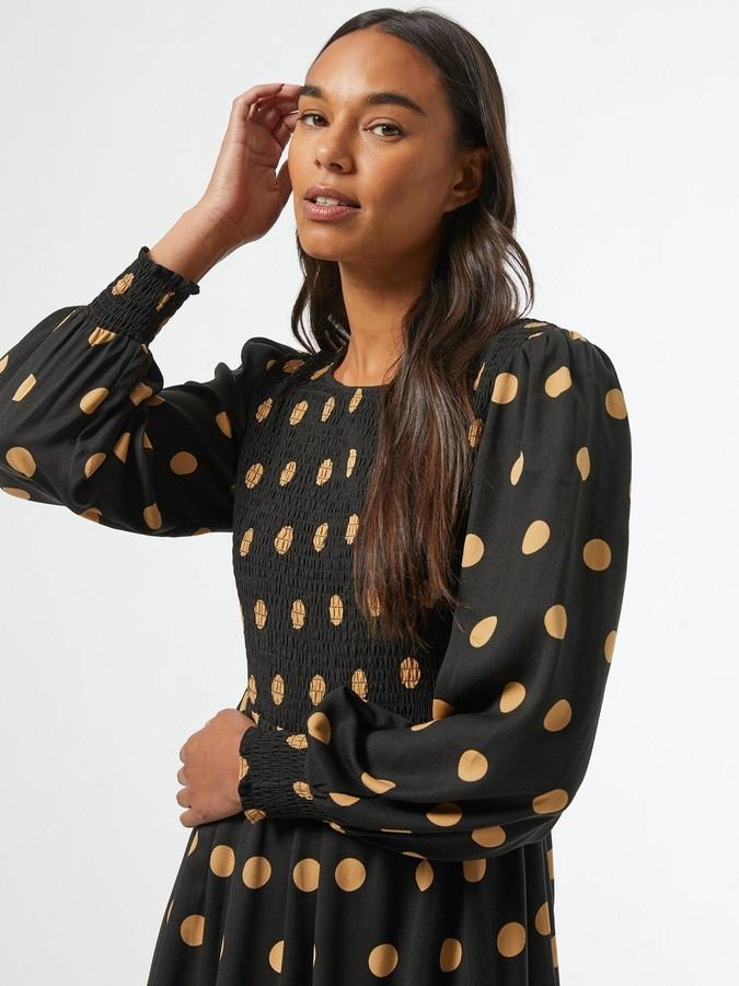 Thumbnail for your product : Dorothy Perkins ShirredCamel SpotMidi Dress - Black