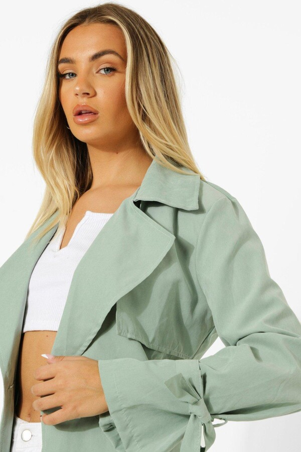 Thumbnail for your product : boohoo Tie Cuff Detail Belted Trench Coat