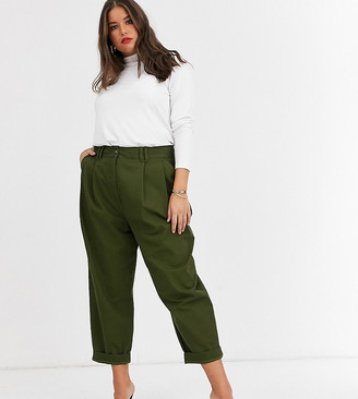 ASOS DESIGN Curve ovoid pleat front peg trouser in khaki