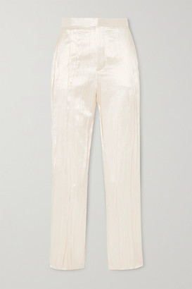 Saint Laurent Pleated Silk-blend Satin Slim-fit Pants - Ivory