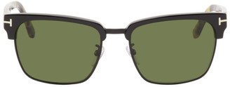 Tom Ford Black and Tortoiseshell River Vintage Square Sunglasses