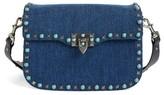 Valentino Rockstud Guitar Strap Denim Shoulder Bag - Blue