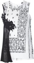 Sacai Bandana Print Lace Top - Black and White