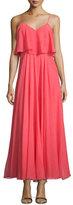 Halston Sleeveless Flounce-Bodice Dress, Coral