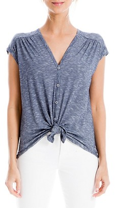 Max Studio Striped Button-Front Top
