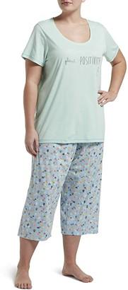 Hue Plus Size Plant Positivity Capris Set (Brook Green) Women's Pajama Sets