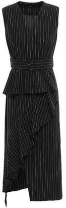 GOEN.J Asymmetric Ruffled Pinstriped Cotton And Ramie-blend Dress