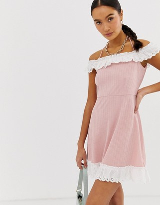 Emory Park off shoulder dress with contrast ruffle detail-Pink