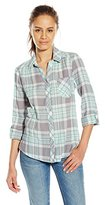 My Michelle Juniors Plaid Button up Top with Convertible Sleeve and Split Pocket