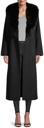 Sofia Cashmere Shawl Fur Collar Wrap Coat