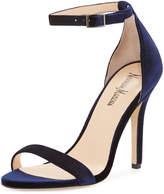 Neiman Marcus Beckah Velvet Ankle-Wrap Sandal, Blue