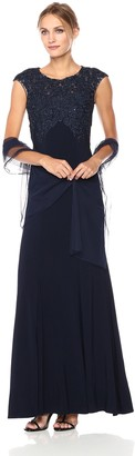 Xscape Evenings Women's Long Ity Capsleeve Embroidred/Beads with Shawl