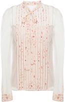 RED Valentino Pussy-bow Printed Silk-trimmed Point D'esprit Top