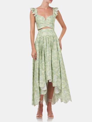 AMUR Santana Printed Linen Midi Skirt