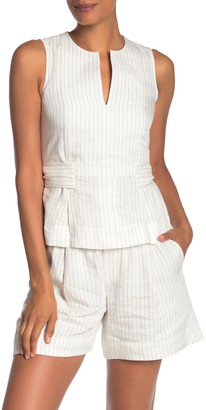 Vince Pencil Stripe Belted Shell Top