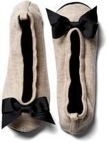 One Kings Lane Grosgrain Slippers, Ecru/Black