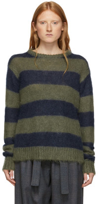 Rokh Navy and Green Chunky Mohair Sweater