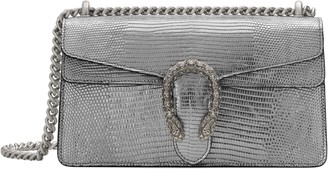 Gucci Small Lizard Embossed Metallic Leather Shoulder Bag