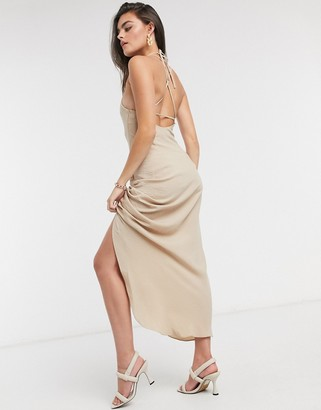 ASOS DESIGN cami ruched front maxi dress in linen in stone