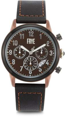 Frye Graham Stainless Steel Leather-Strap Chronograph Watch