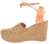 Robert Clergerie Straw Platform Wedges