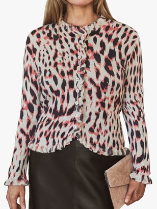 Pure Collection Cashmere Leopard Print Ruffle Cardigan, White/Black/Pink
