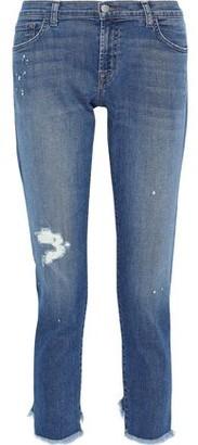 J Brand Sadie Cropped Distressed Mid-rise Slim-leg Jeans