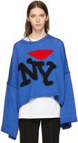 Raf Simons Blue Oversize i Love Ny Sweater