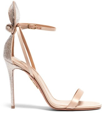 Aquazzura Bow Tie 105 Crystal-embellished Satin Sandals - Nude