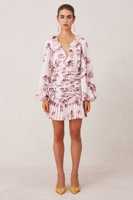 Keepsake BELLE LONG SLEEVE MINI DRESS pink sparrow floral