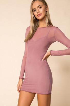 superdown Sheer Overlay Mini Dress
