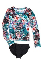 Seafolly Girl's Tropical Vacation Two-Piece Rashguard Swimsuit