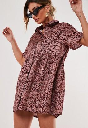Missguided Leopard Print Shirt Smock Dress