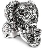 Thomas Sabo Blackened Sterling Silver Elephant Ring w/Black Zirconia Pavè