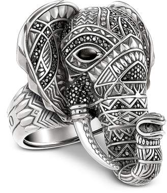 Thomas Sabo Blackened Sterling Silver Elephant Ring w/Black Zirconia Pave