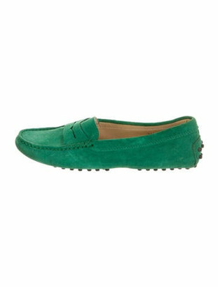 Tod's Gommino Suede Loafers Green
