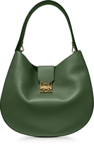 MCM Patricia Park Avenue Large Loden Green Leather Hobo Bag