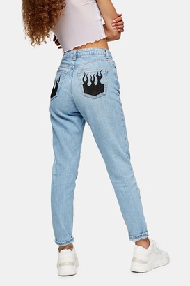 Topshop Womens Bleach Fire Pocket Mom Tapered Jeans - Bleach Stone