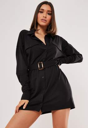 Missguided Black Jersey Utility Shirt Dress