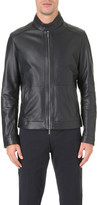 HUGO BOSS Stand-collar leather jacket